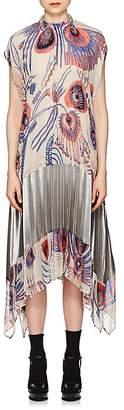 Dries Van Noten Women's Pleated Peacock-Print Dress