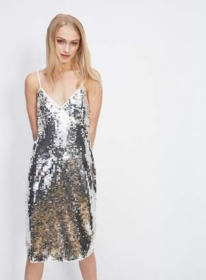 Miss Selfridge Silver sequin slip midi dress