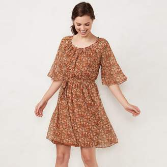Lauren Conrad Women's Print Pleated Dress