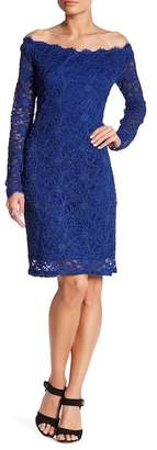 Marina Long Sleeve Off-The-Shoulder Lace Dress $119 thestylecure.com