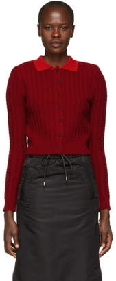 Shushu/Tong Burgundy Cashmere Cable Knit Cardigan