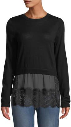 Club Monaco Yahira Wool Sweater with Lace Underlay