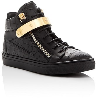 Giuseppe Zanotti Unisex Aftering Croc Embossed Lace Up Sneakers - Toddler, Little Kid $495 thestylecure.com