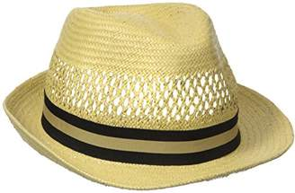 Henschel Men's Vented Toyo Straw Fedora with Striped Ribbon Band