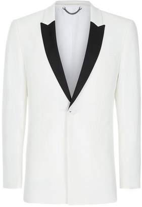 Topman Mens Cream Off White Contrast Lapel Skinny Fit Tuxedo Jacket