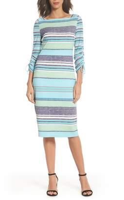 Maggy London Ruched Sleeve Sheath Dress
