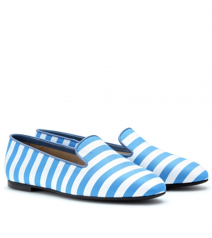 STRIPED SLIPPER-STYLE LOAFERS