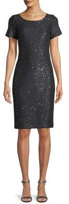 St. John Sparkle Sequin Cutout-Back Cocktail Dress