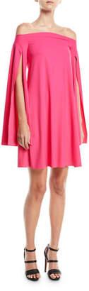 Chiara Boni Mami Off-the-Shoulder Cape-Sleeve Cocktail Dress