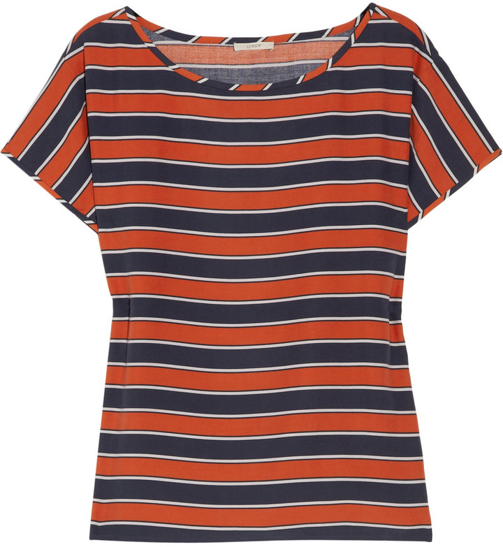 J.Crew Gondola striped silk T-shirt