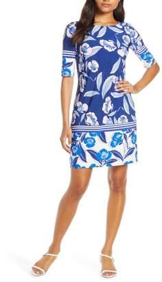 Eliza J Print Elbow Sleeve Shift Dress (Petite)