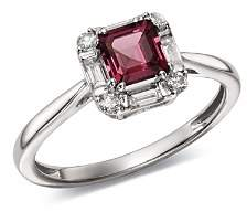 Bloomingdale's Rhodolite Garnet & Diamond Square Ring in 14K White Gold - 100% Exclusive