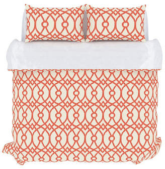 Piper Duvet Cover Set, Full/Queen, Coral Bedding