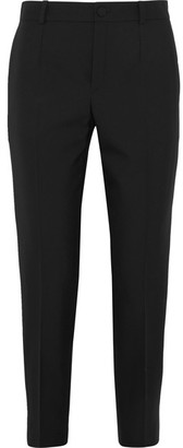 Lanvin - Satin-trimmed Cropped Canvas Slim-leg Pants - Black $1,090 thestylecure.com