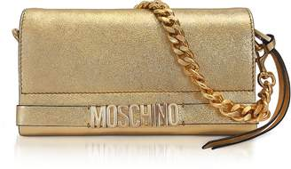 Moschino Gold Metallic Leather Clutch w/Chain Strap