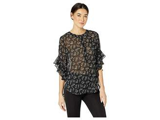 Vince Camuto Flutter Sleeve Dainty Calico Henley Blouse