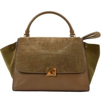 Celine Trapeze Green Leather Handbag