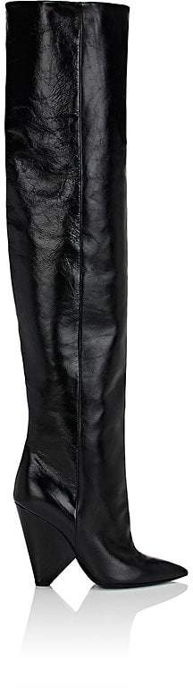 Saint Laurent Women's Niki Leather Over-The-Knee Boots