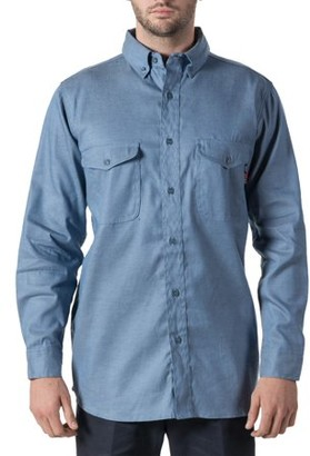 Walls Men's Flame Resistant Woven Chambray Shirt, HRC Level 2