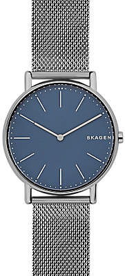 Skagen SKW6420 Women's Signatur Mesh Bracelet Strap Watch, Gunmetal/Blue