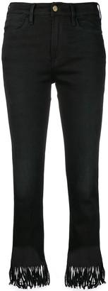 Frame fringed edge cropped jeans