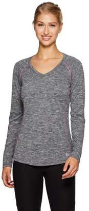 RBX Women's Active Space Dye Heather Long Sleeve V-Neck