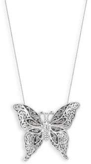 Lois Hill Classic Sterling Silver Butterfly Pendant Necklace