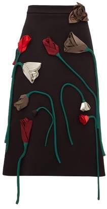 Prada Silk Flower Applique A Line Wool Skirt - Womens - Black Multi