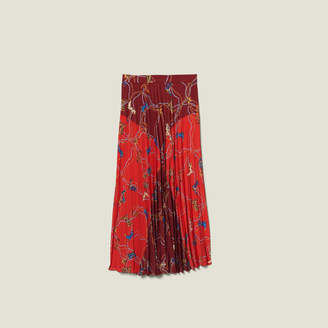Sandro Printed Long Skirt With Pleats