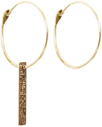 Dutch Basics - Gold Plated Hoop Earrings With Patterned Bar Pendant
