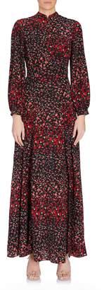 Raquel Diniz Lila Long Sleeve Deep V Printed Maxi Dress in Black