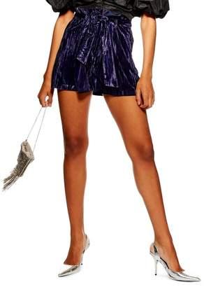 Topshop Velvet Tie Waist Shorts
