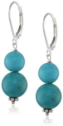 Sterling Silver Stabilized Chinese Turquoise Beads Drop Earrings