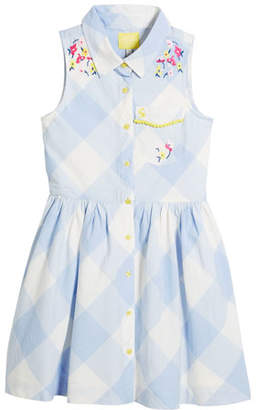 Joules Gabrielle Gingham Embroidered Dress, Size 3-10