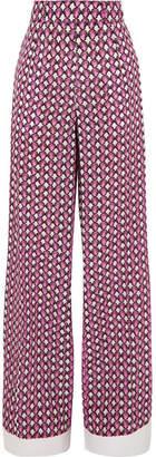 Marni - Printed Silk Crepe De Chine Wide-leg Pants - Pink