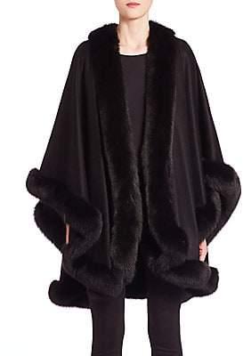 The Fur Salon Women's Fur-Trim Cashmere Cape