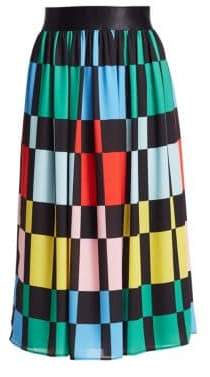Alice + Olivia Women's Melda Gathered Midi Skirt - Colorblock - Size 14