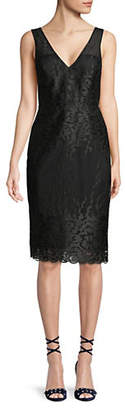 Nicole Miller NEW YORK Illusion Embroidered Sleeveless Dress