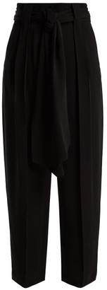 Valentino High Rise Tie Waist Silk Georgette Trousers - Womens - Black