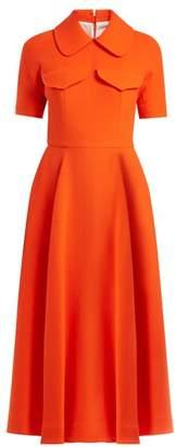 Emilia Wickstead - Alice Short Sleeved Wool Crepe Midi Dress - Womens - Orange