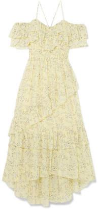 Ulla Johnson Penninah Cold-shoulder Ruffled Floral-print Silk-georgette Dress - Yellow