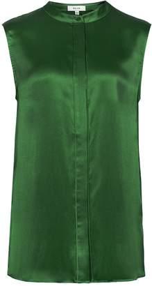 Reiss Lila - Silk Sleeveless Blouse in Bottle Green
