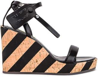 Off-White Off White Striped Wedge Sandal in Black | FWRD