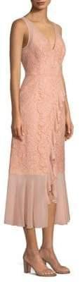 Aidan Mattox Lace& Chiffon Ruffle Midi Dress