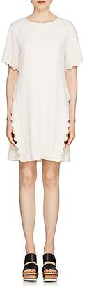 Chloé Women's Scalloped-Edge Wool-Blend Shift Dress - Cream