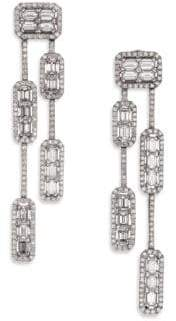 Roberto Coin Baguette Deco Diamond& 18K White Gold Double-Strand Drop Earrings