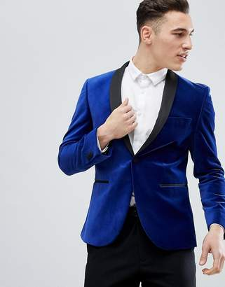 Next Skinny Velvet Blazer In Blue
