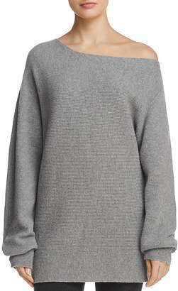 Theory Merino Wool Off-the-Shoulder Oversized Sweater