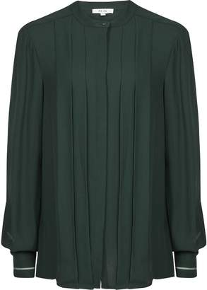 Reiss Nicole - Pleat Front Blouse in Dark Green