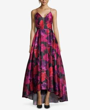 Betsy & Adam Floral-Print High-Low Gown